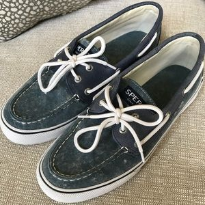 Blue and White Sperrys